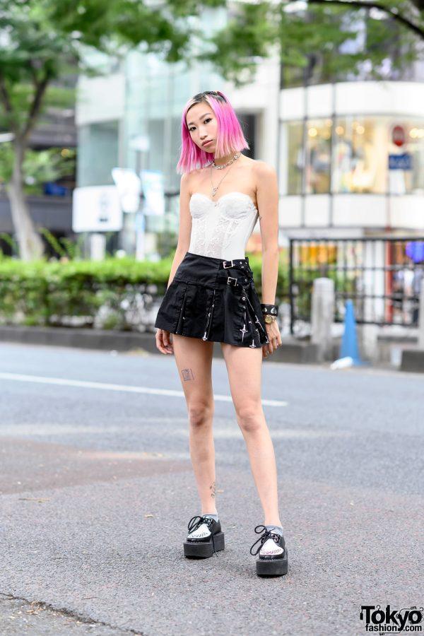 Pink-haired Harajuku Girl in Vintage Bustier Top, Lip Service Skirt & Junya Watanabe Creepers