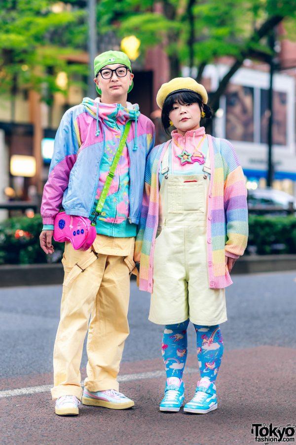 Harajuku Duo in Rainbow Streetwear Styles w/ WEGO, Vans, Galaxxxy, Carhartt, New Era, Puma & Vintage Fashion