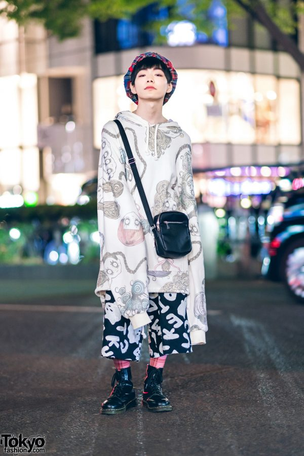HEIHEI Graphic Street Style w/ Plaid Beret, Alive Bag, Plaid Tights & Dr. Martens Boots