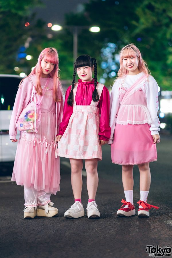 Kawaii Pink Harajuku Styles w/ Vintage Sheer Dress, Satin Pants, Handmade Skirt, Raspberry Pie, Little Sunny Bite & Tokyo Bopper