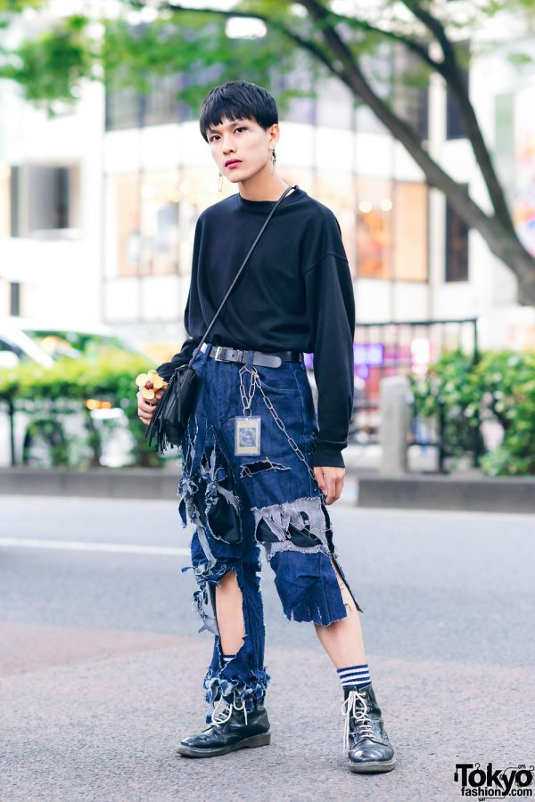 Tokyo Vintage & Remake Streetwear Style w/ Ripped Jeans, Fringe Bag, WEGO, Dr. Martens & Yu-Gi-Oh!