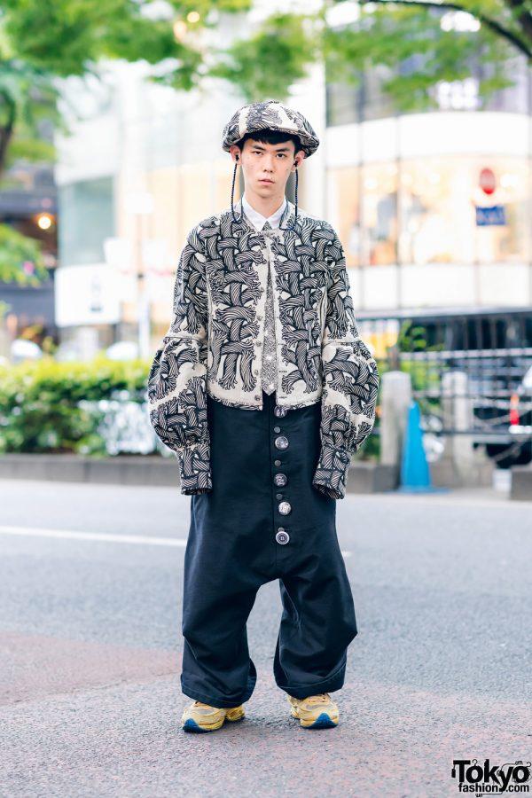 Christopher Nemeth Rope Print Harajuku Street Style w/ Newsboy Cap, Collarless Jacket, Sarueru Overalls & Adidas x Raf Simons Sneakers