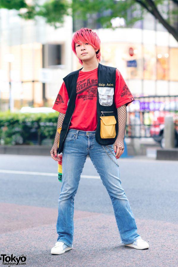 Harajuku Style w/ Red Hair, Fishnet Sleeves, X Large, Forever 21, Bershka & WEGO