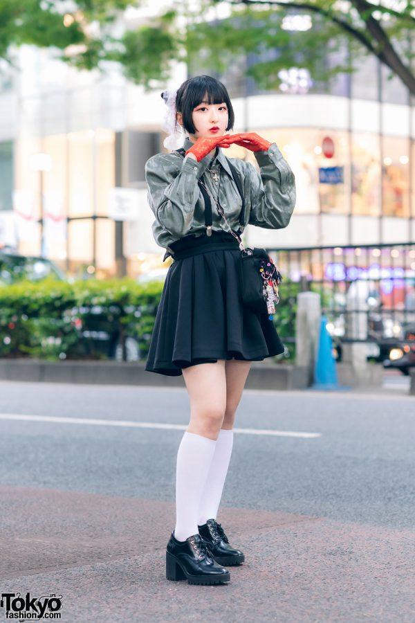 Harajuku Girl w/ Odango Hair, Metallic Shirt, Suspender Skirt, Milk Bag, Lace Gloves & Zara Pointy Boots