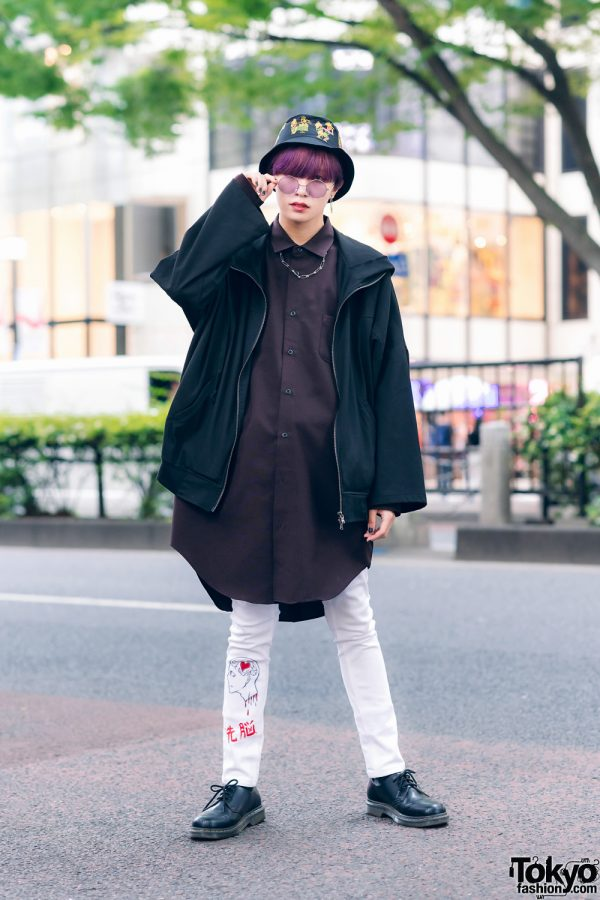Japanese Model Street Style w/ Bucket Hat, White Pants, GGD & Dr. Martens