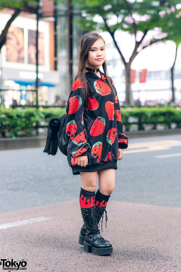 Strawberry Print Hoodie & Tall Boots Harajuku Street Style w/ ACDC Rag, Village Vanguard, Yosuke & AnkoRock