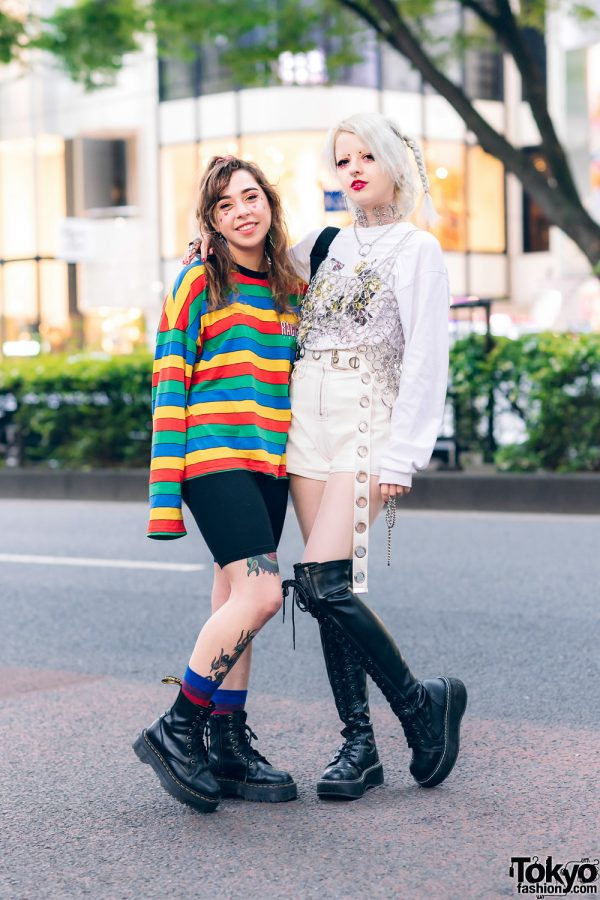 Harajuku Streetwear Styles w/ Mazohyst Clear Choker, Ragged Jeans Rainbow Shirt, Kobinai Sweater, Sacred Hawk Chain Top, Romantic Standard, Dr. Martens & Demonia Thigh Boots