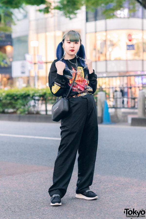 Harajuku Streetwear w/ Blue Twin Tails, Cross Necklace, (ME) Harajuku, 24Karats Sweater, Balenciaga Sling & Ugg Sneakers