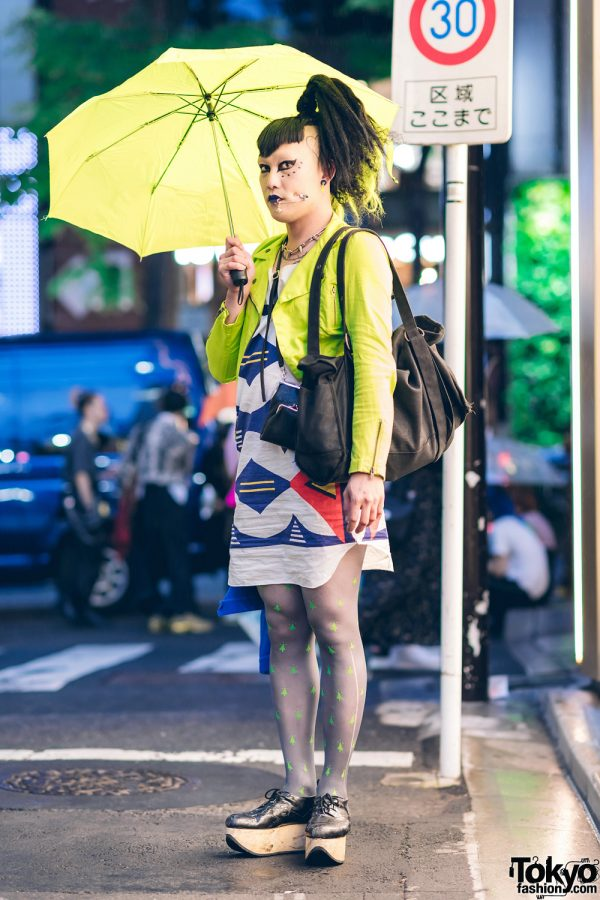 Japanese Vintage Fashion Buyer & Model in Vivienne Westwood Streetwear Style w/ Safety Pin Cheek Piercing, Tripp NYC Cropped Jacket, Printed Tunic Dress, Sheer Stockings & Rocking Horse Shoes