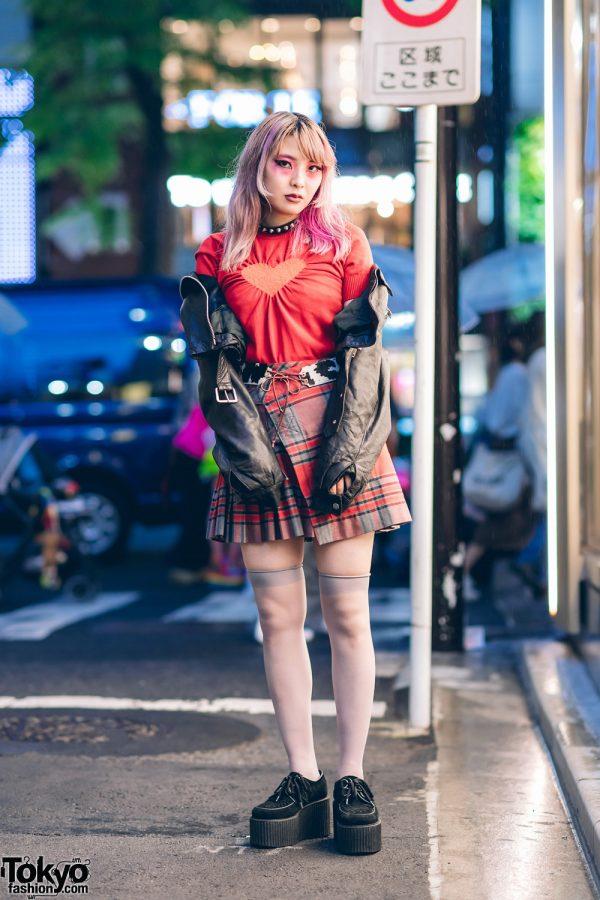Streetwear Style by Heiligtum Designer w/ Ombre Hair, Spiked Choker, Vintage Jacket, Wraparound Plaid Skirt, Rimrock & Underground Creepers