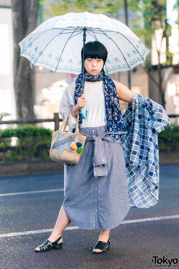 All Blue Remake Streetwear Style w/ Printed Umbrella, Floral Print Scarf, Shirt Dress, Straw Bag & Slingback Sandals