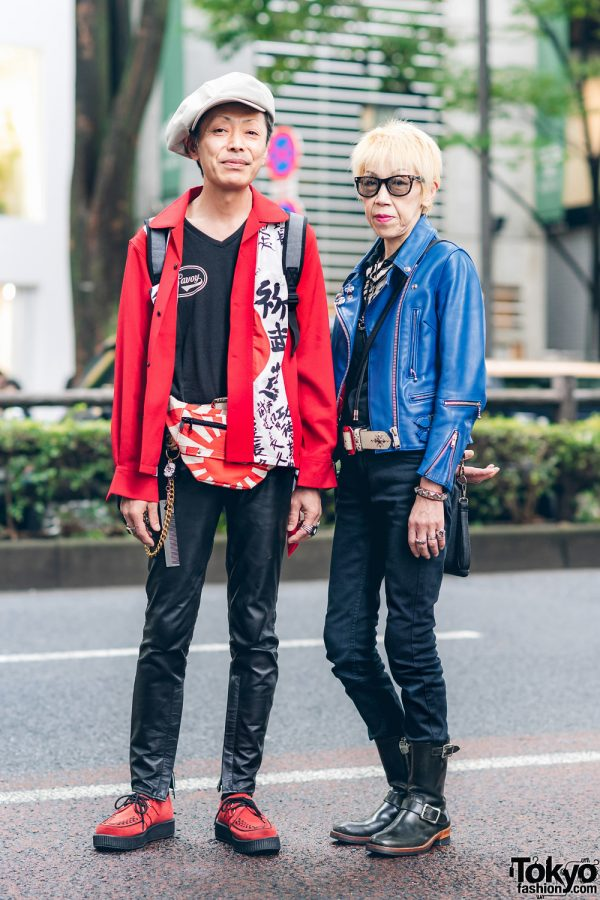 Japanese Savoy Styles w/ Beret, Kanji Print Jacket, 666 Faux Leather Moto Jacket, Neon, Rising Sun Waist Bag, Love Kills Boots & Tuk Creepers