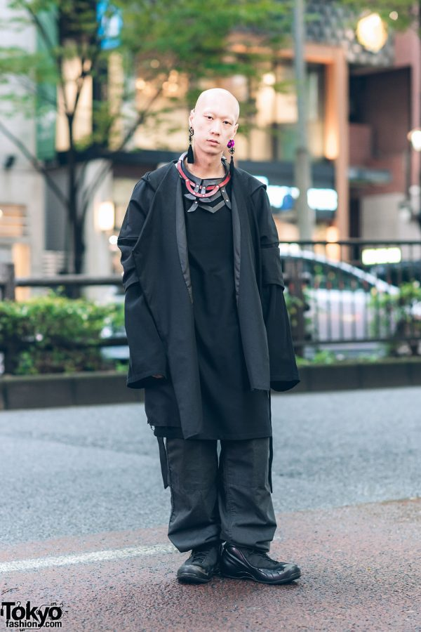 Japanese Musician & Model's All Black Street Style w/ Handmade Leather Bib Necklace, Depression Coat, Yohji Yamamoto, Vintage Pants & Nike Sneakers