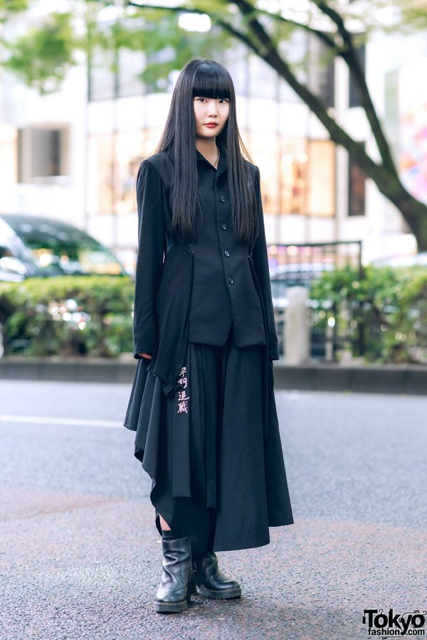 Yohji Yamamoto Minimalist Monochrome Street Style in Tokyo w/ Draped Jacket, Asymmetrical Skirt & Dr. Martens