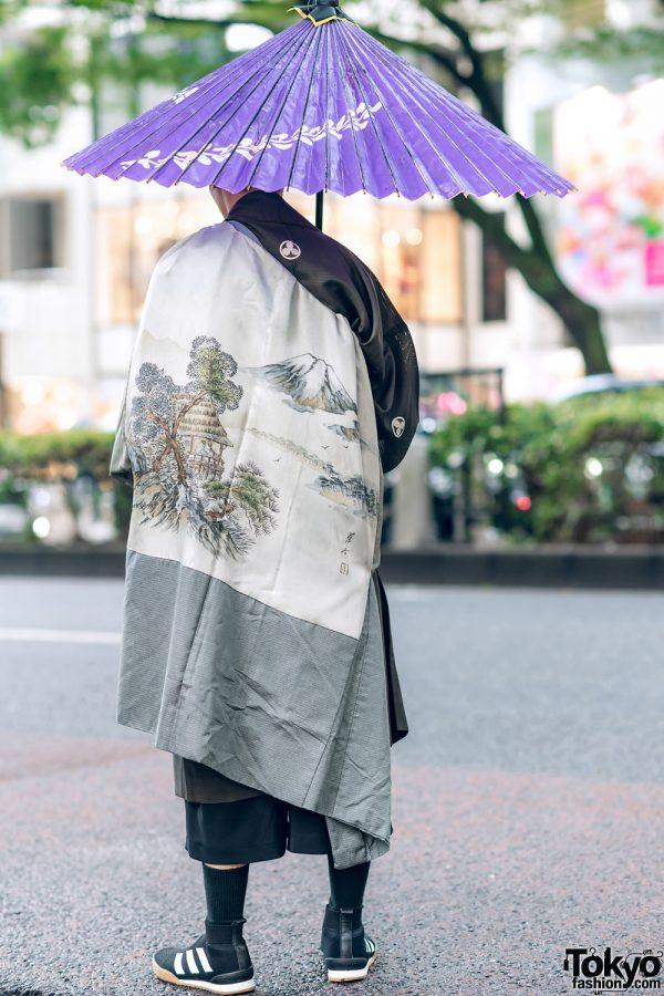 Japanese Kimono Street Style W Purple Wagasa Layered