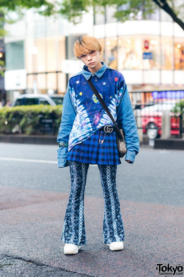 Florida Harajuku Shop Staff's Multi-Print Street Style w/ Galaxy Print Denim Sweater, Plaid Skirt, Paisley Print Flared Pants, Gucci Sling Bag & Z-Coil Sneakers