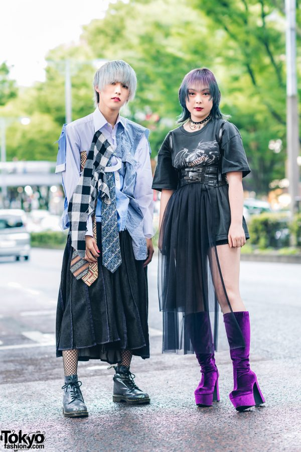 Tokyo Teens Streetwear Fashion w/ Ash Grey Hair, Ombre Hair, Fishnets, Handmade Shirt w/ 3 Ties, Jouetie, Gallerie, Sheer Skirt Panel, ME Harajuku Belted Waist Harness, Dr. Martens & OK Kiko Knee-High Boots