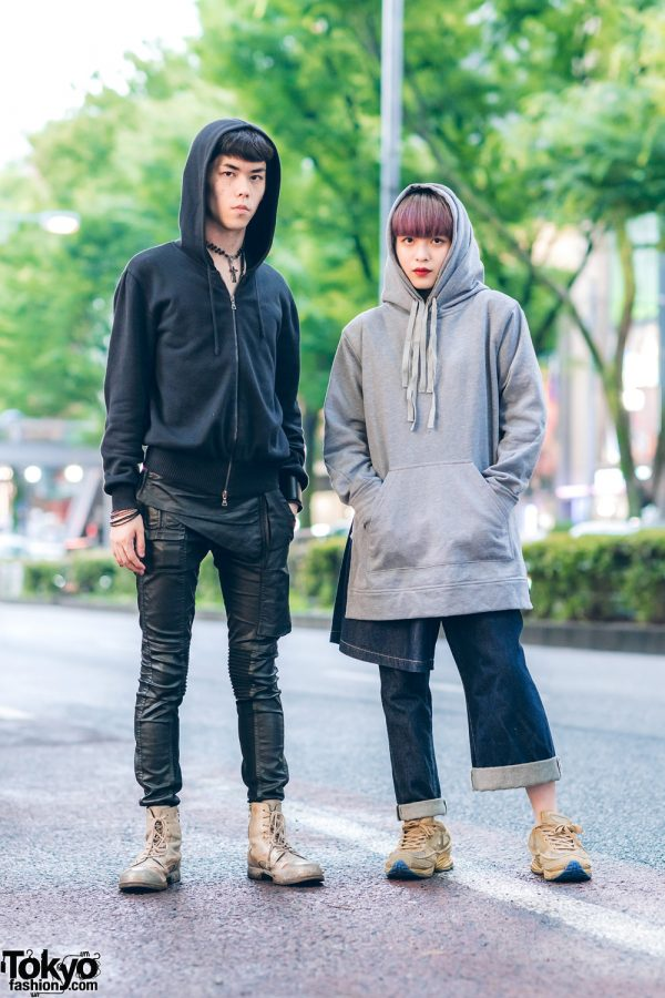 Japanese Hoodie Fashion w/ Jil Sander, Rick Owens DRKSHDW Leather Pants, Phenomenon Layered Denim Pants, Raf Simons x Adidas & Mihara Yasuhiro Distressed Boots