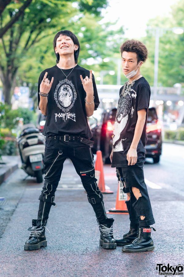 All Black Punk Streetwear Styles in Harajuku w/ Mask, Safety Pin Statement Necklace, Poor Thing Shirt, ABVHVN Face Shirt, Tripp NYC, BlackMeans & Dr. Martens Boots