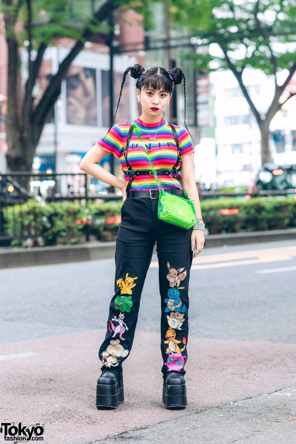 Rainbow Top & Embroidered Pokemon Pants in Harajuku w/ UNIF, O-Mighty, NaNa-NaNa & Demonia
