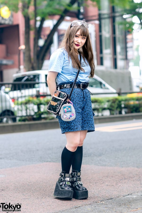 Blue Style in Harajuku w/ Clear Visor Glasses, ESC Studio Ruched Shirt, Detox Leopard Print Shorts, Oh Pearl, Swimmer Game Controller Bag & Demonia Platform Boots