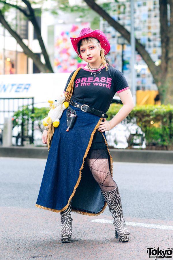 Tokyo Street Fashion w/ Pink Cowboy Hat, Handmade Apron Skirt, Peco Club Necklace & OK Zebra Tall Boots