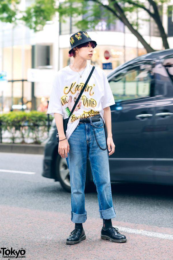 Japanese Streetwear w/ Bucket Hat, Spray Paint Tee, Focus, Dr. Martens & Cote Mer