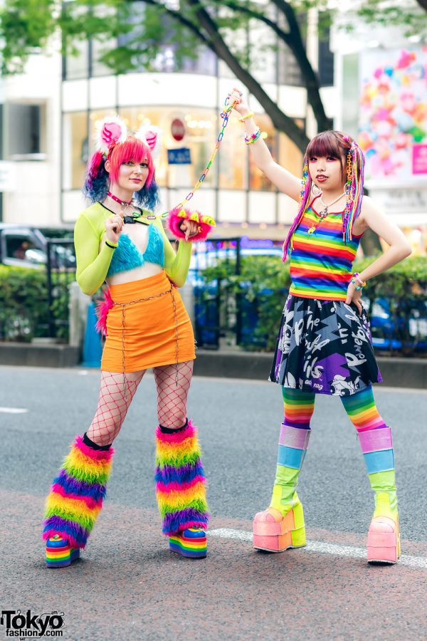 Tokyo Rainbow Streetwear Styles w/ Furry Ears, Rainbow Hair Falls, Furry Bralette, Kol Me Baby Skirt, Kobinai, Powerpuff Girls Skirt, Sexy Dynamite London, ACDC Rag, YRU, Takuya Angel Furry Claw & Demonia