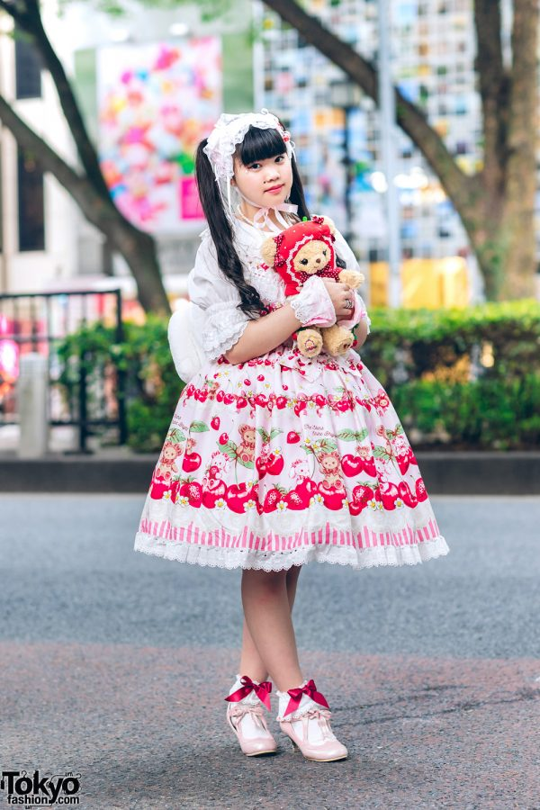 Baby, The Stars Shine Bright Harajuku Lolita Fashion w/ Berry Print Dress, Teddy Bear, Plush Toy Backpack, Ribbons & Pink Heeled Shoes