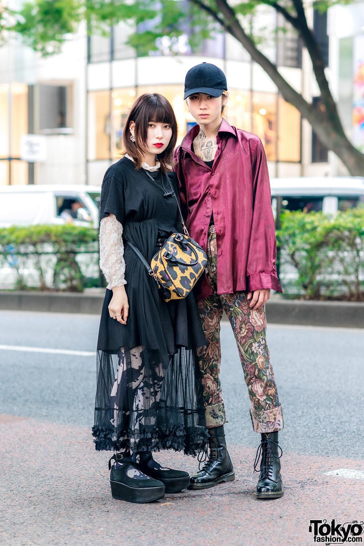 Harajuku Duo Streetwear Fashion w/ Black Cap, Satin Shirt, Shirt Dress, Monochrome Print Tights, Brocade Pants, Vivienne Westwood Anglomania Bag, Dr. Martens & Tokyo Bopper Ankle Wrap Shoes