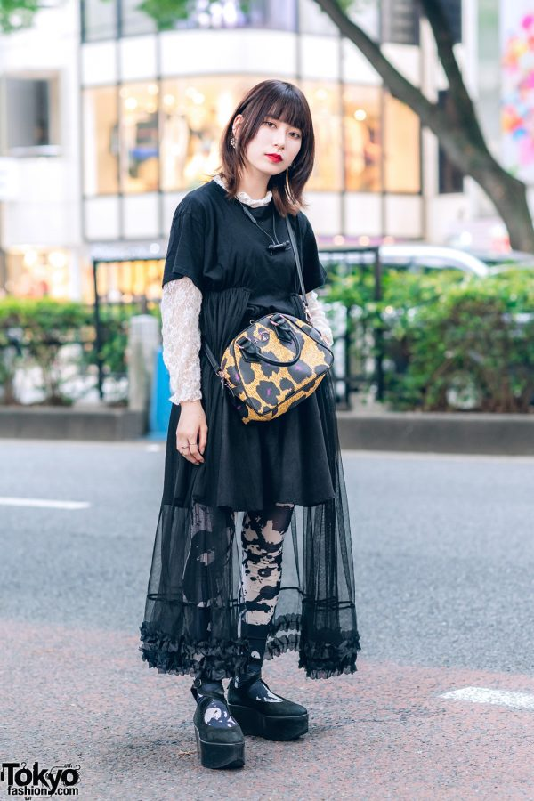 Harajuku Duo Streetwear Fashion W Black Cap Satin Shirt