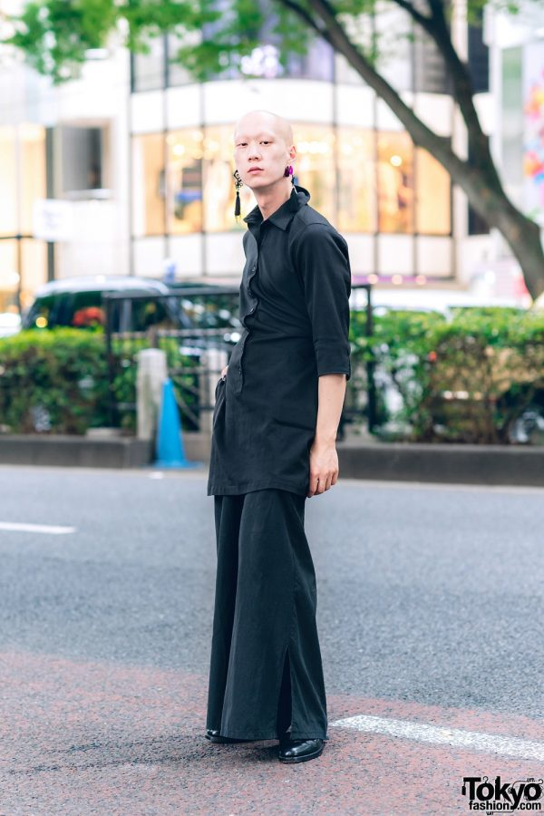 Japanese Model & Musician in All Black Style w/ Kujaku, Loake, Vivienne Westwood & Vintage Fashion