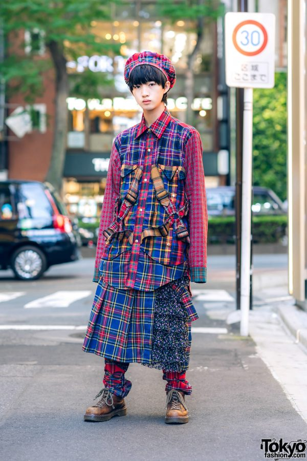 HEIHEI Japan Street Style w/ Plaid Beret, Multi-Plaid Harness Shirt, Skirt Over Pants & Dr. Martens Boots