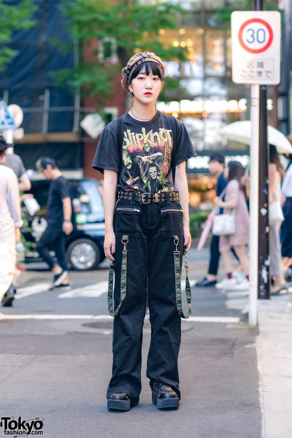All Black Casual Street Style w/ Plaid Beret, Slipknot Band Tee, Tripp NYC Pants, BPH Backpack & Creepers