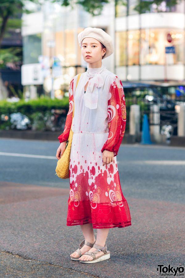 Japanese Hair Stylist in Chic Street Style w/ Beret, Hawkins, Quarter Gallery & Vintage Fashion