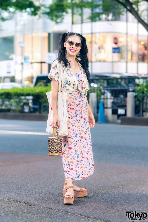 Faline Tokyo Owner On The Street in Harajuku w/ Harley Viera-Newton Dress, Charlotte Olympia Leopard Bag, Morgan Homme, Chanel & Miu Miu