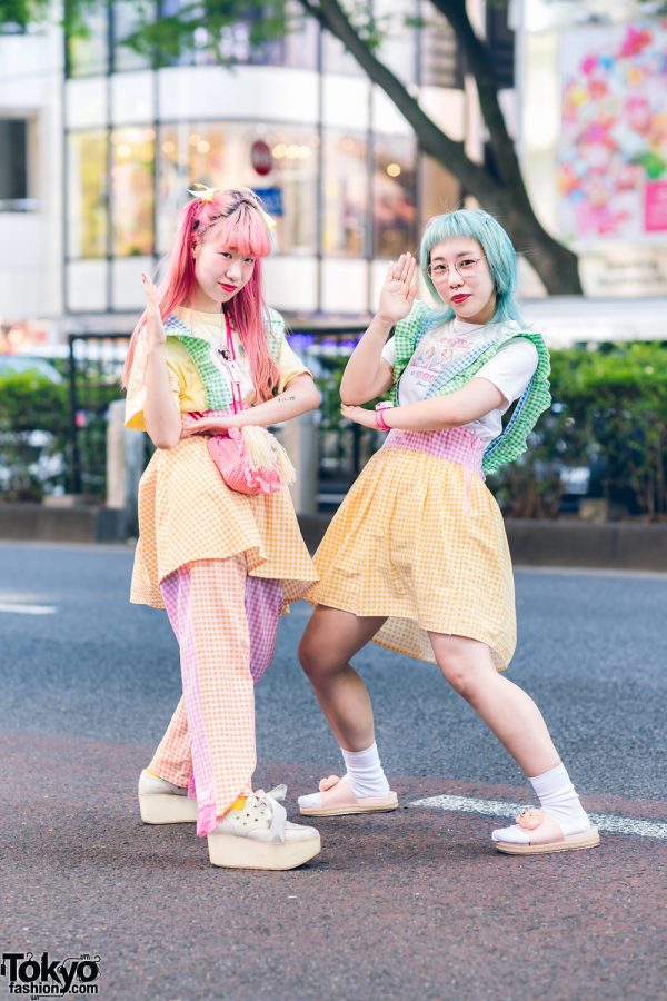 Pastel Gingham Handmade Harajuku Street Fashion w/ Hair Bows, Hello Kitty, Cabbage Patch Kids, Mikansei & Tokyo Bopper