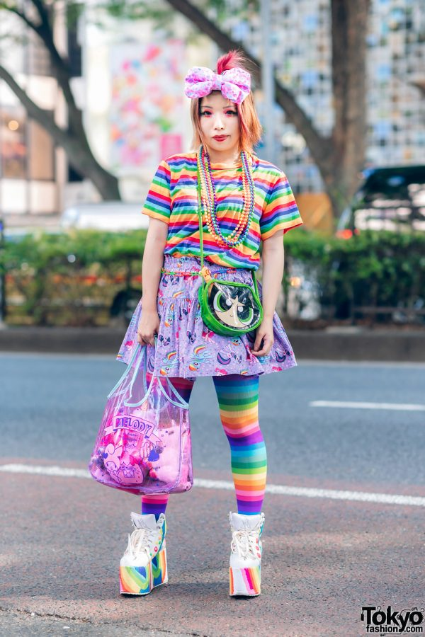 Kawaii Rainbow Street Fashion w/ Big Hair Bow, WC Shirt, Unicorn Print Skirt, Powerpuff Girls, 6%DokiDoki, Sanrio Tote & YRU Platforms