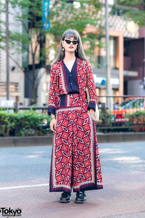 Y's Pink by Yohji Yamamoto Japanese Street Style w/ Cat Eye Sunglasses, Geometric Print , Vintage Tote & Dr. Martens