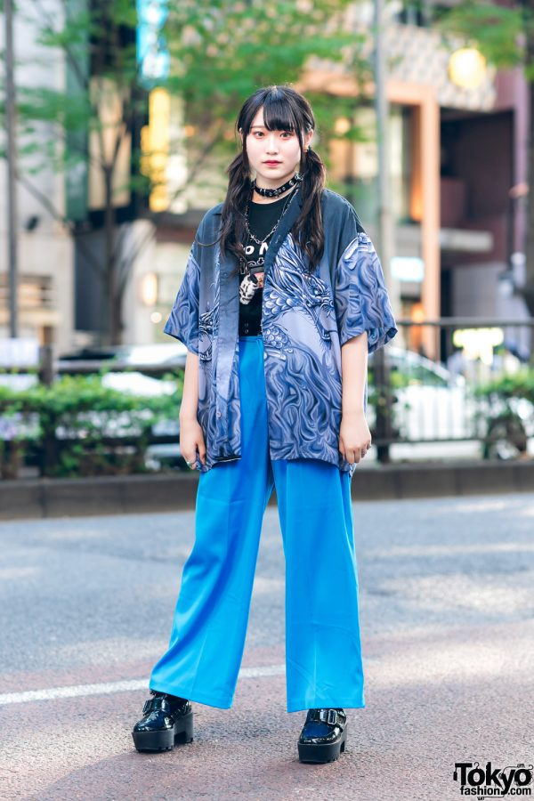 Harajuku Blue Streetwear Style w/ Twin Tails, Grommet Choker,  Mabataki Dragon Print Shirt, Do Not Disturb Shirt, Faith Tokyo Accessories & Heeled Loafers
