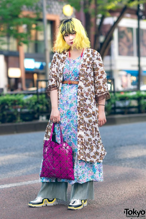 Yellow Hair & Mixed Floral Prints in Harajuku w/ Kastane, Bao Bao Issey Miyake, Pierre Hardy & Vintage Fashion