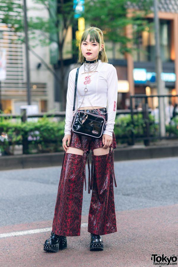 Japanese Street Style w/ Vampire Fangs, Never Mind the XU, Snakeskin Cutout Pants, ME Harajuku & Yosuke Platforms