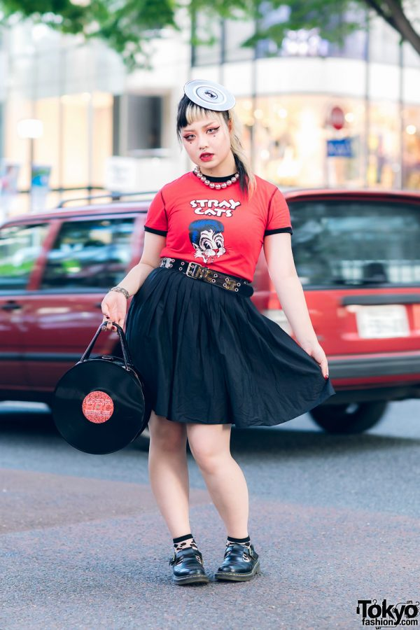 Stray Cats & Vinyl Harajuku Street Style w/ Record Headpiece, Flared Skirt, G2? Vinyl Record Bag & Dr. Martens