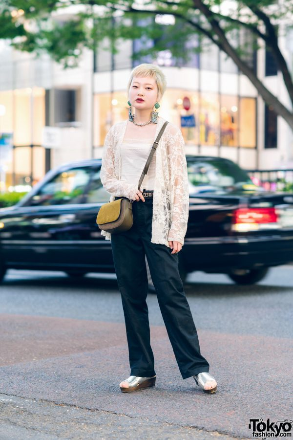 Japanese Model in Tokyo w/ Blonde Hair, New York Joe Sheer Lace Cardigan & Silver Sandals