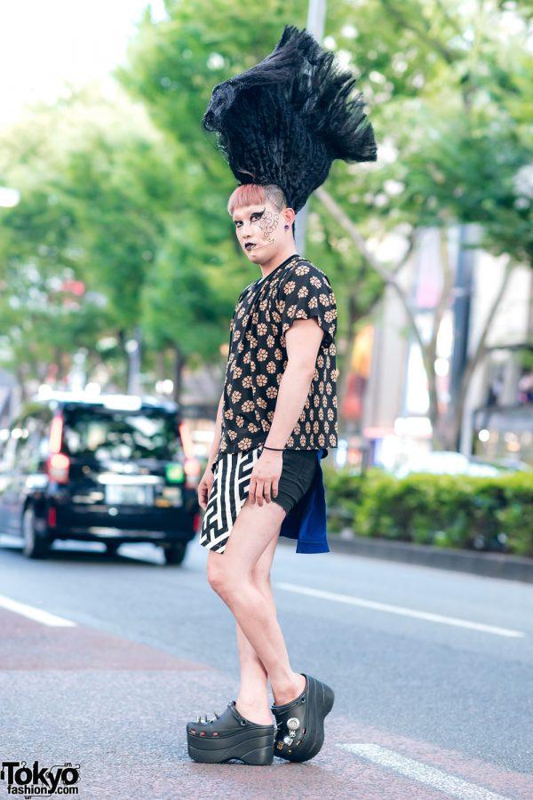 Harajuku Street Style w/ Tall Black Mohawk, Mixed Prints, Facial Piercing, MM6, KTZ & Balenciaga