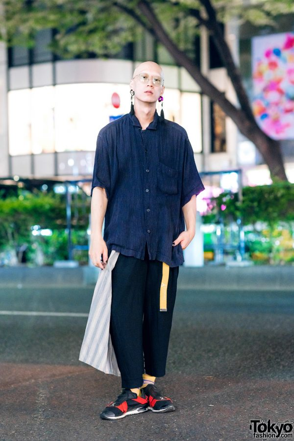 Menswear Style in Harajuku w/ Tassel Earrings, Issey Miyake Ruched Shirt, Yohji Yamamoto Pants, Ground Y Belt & Adidas x Yohji Yamamoto Sneakers