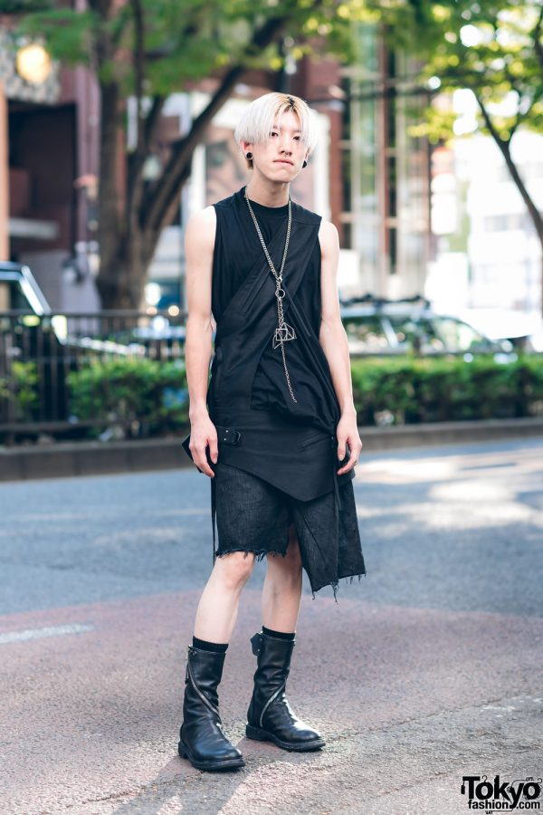 All Black Rick Owens Look in Harajuku w/ Blonde Hair, Gauged Ears, Wraparound Harness Bag, Asymmetric Denim Skirt & Zipper Boots