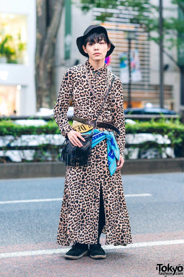 Harajuku Street Style w/ Leopard Print Dress, Fringe Bag, Floppy Hat, Zara, El ConductorH, Muze & Gara