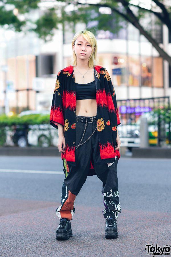 Harajuku Girl Streetwear w/ Vintage Flame Print Top, Cote Mer Printed Pants & Yosuke Sneakers
