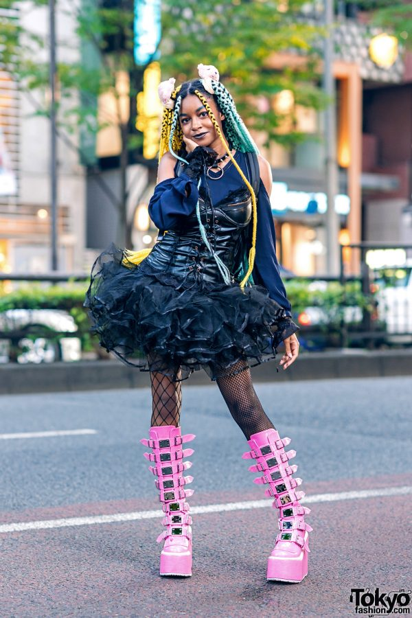 Harajuku Street Style w/ ACDC Rag Corset, Tulle Skirt, Tall Pink Demonia Boots & Dolls Kill